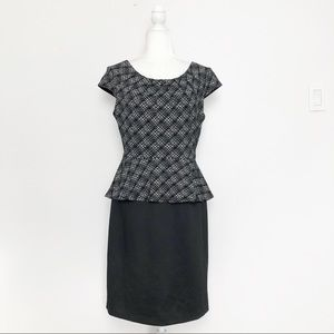 Connected Apparel Black & Grey Peplum Dress 8